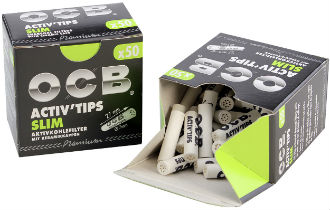 OCB Slim 7mm Activated Charcoal Tips
