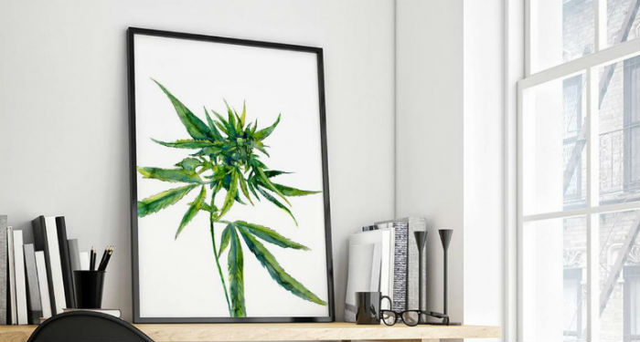 Marijuana Home Decor Plant Print