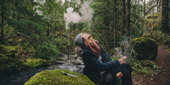 Smoking Sativa Weed in Woods